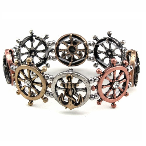 Anchor & wheel bracelet - multi