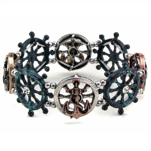 Anchor & wheel bracelet - patina