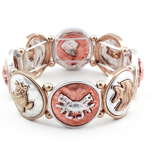 Sea life bracelet - turtle, crab, fish