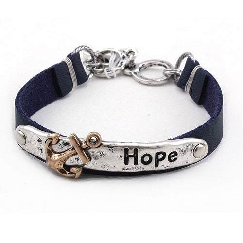 Anchor & hope leather bracelet