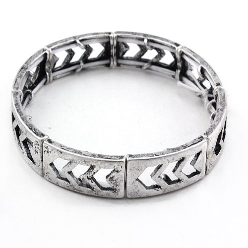 Chevron bracelet - burnish silver