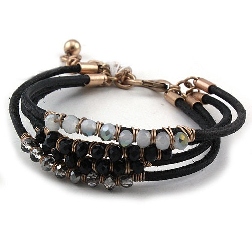 Glass bead bracelet - Black
