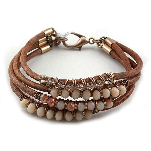 Glass bead bracelet - light brown