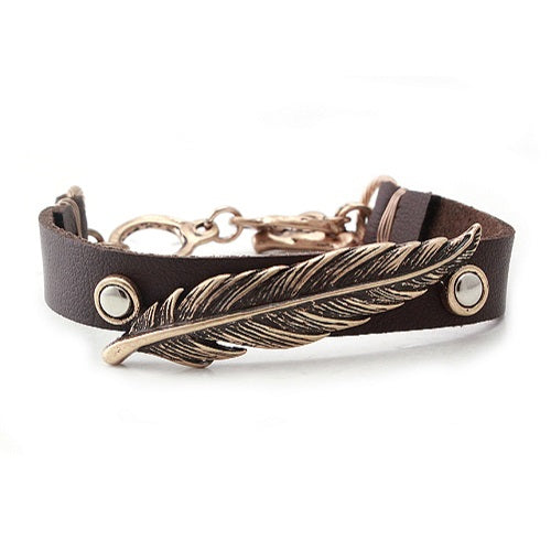 Feather w/ leather bracelet - gold