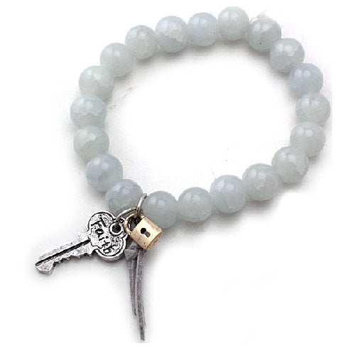 Key & Lock glass bead bracelet - GY