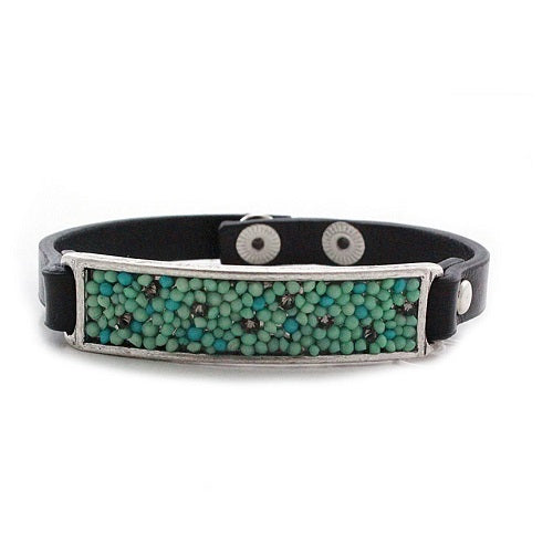Pave turquoise bar bracelet - silver