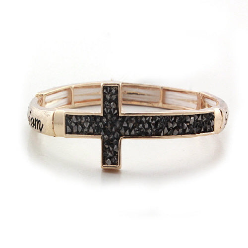 GOLD PAVE CROSS BRACELET