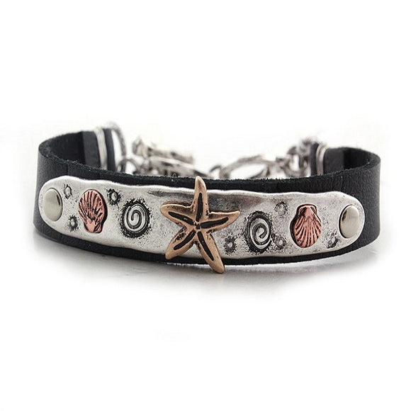 Starfish w/ sealife bracelet - silver