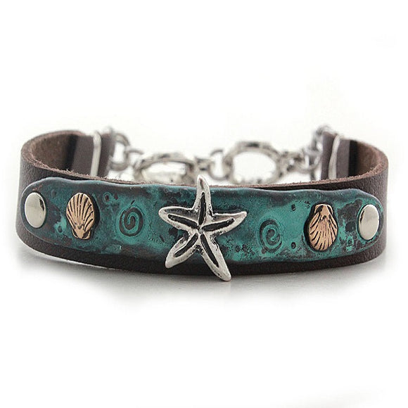 Starfish w/ sealife bracelet - patina