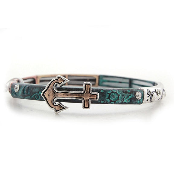 Anchor bracelet - patina multi