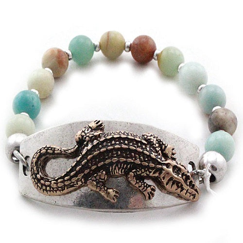 Alligator w/ semi precious bracelet
