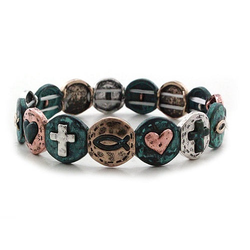 Cross & heart bracelet
