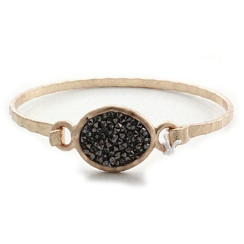 Oval pave bangle bracelet - gold