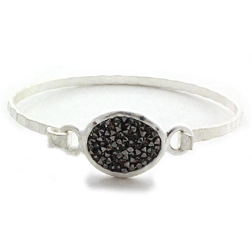 Oval pave bangle bracelet - silver