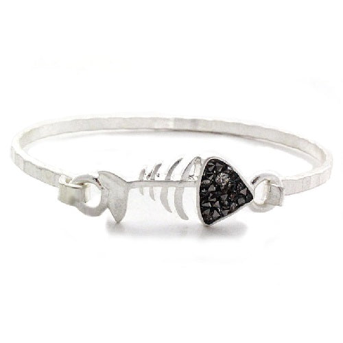 Fish bone bangle bracelet