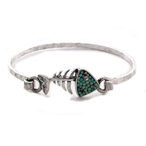 Fish bone bangle bracelet - turquoise