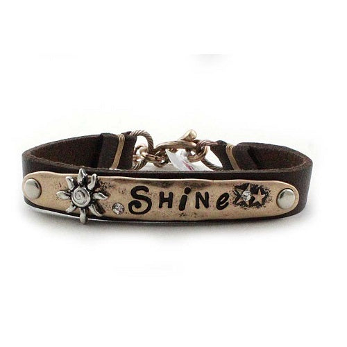 Shine leather bracelet - gold brown