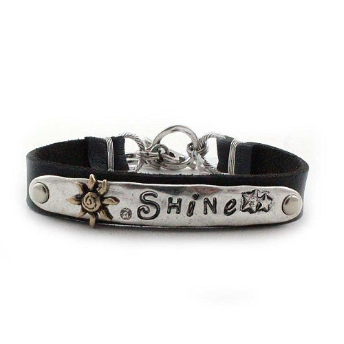 Shine leather bracelet - silver black