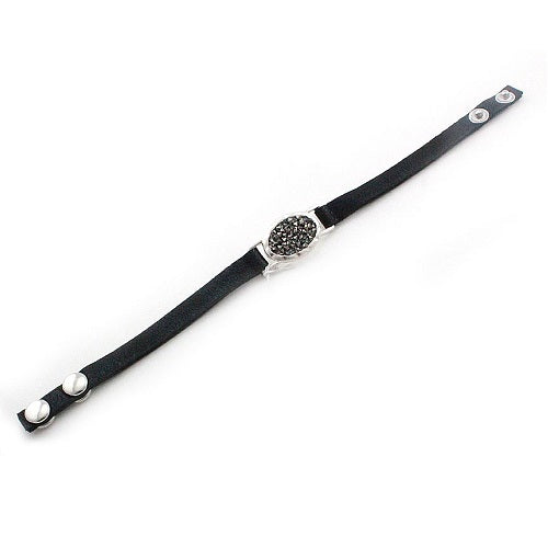 Oval pave leather bracelet - silver black