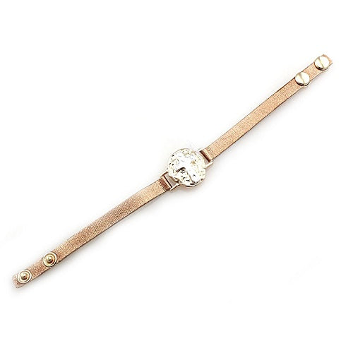 Cross leather bracelet - gold & silver
