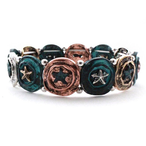 Starfish bracelet -patina multi