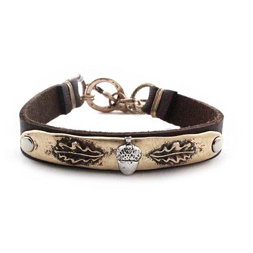 Acorn leather bracelet - gold