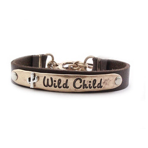 Wild child leather bracelet - gold