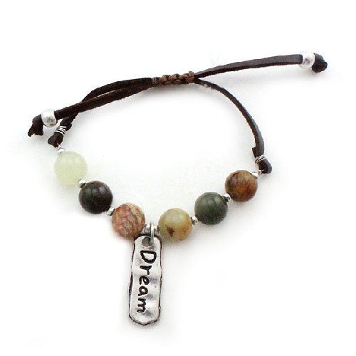 Dream charm w/ semi precious bracelet - brown multi