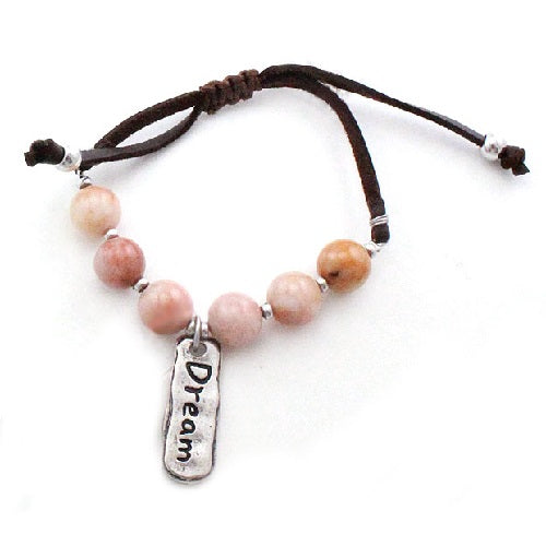 Dream charm w/ semi precious bracelet - natural