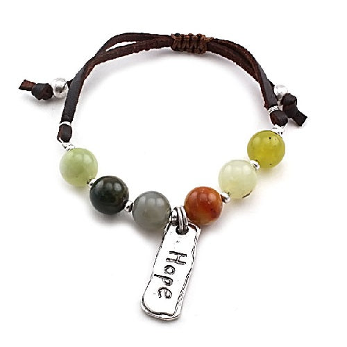 Hope w/ semi precious bracelet -brown multi