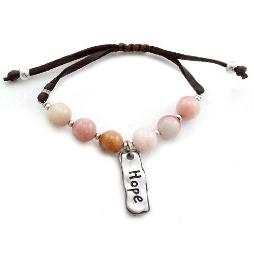 Hope w/ semi precious bracelet -natural