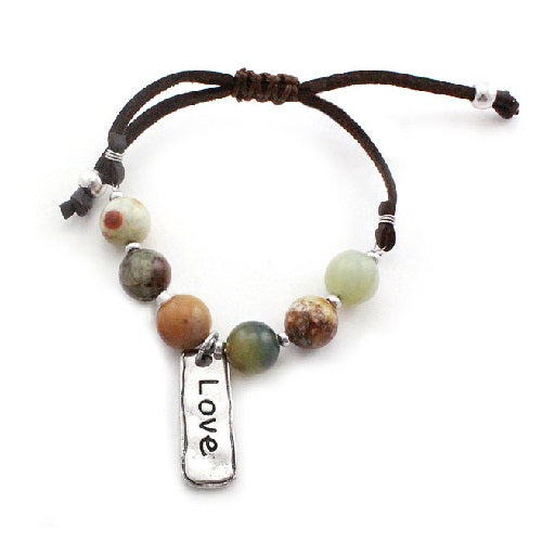 Love w/ semi precious bracelet - brown multi