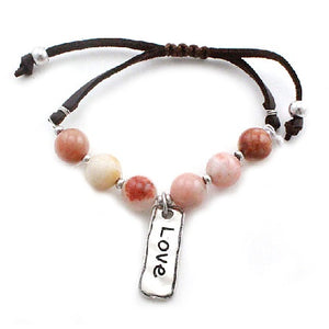 Love w/ semi precious bracelet - natural