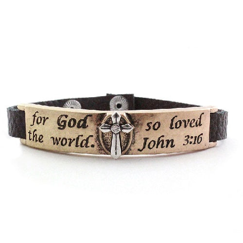 God so loved the world bracelet - gold