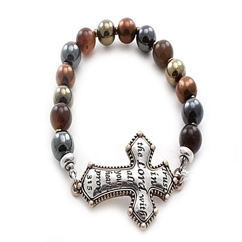 Cross with ccb bead bracelet