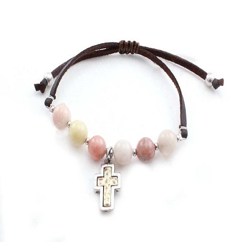 Cross w/ semi precious bracelet - natural