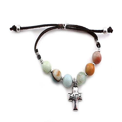 Cross & faith semi precious bracelet