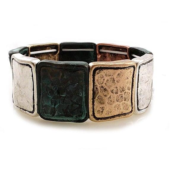 Hammered square bracelet - patina multi