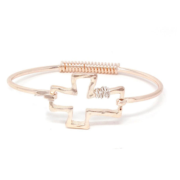 Cross with wire bracelet - rose gold