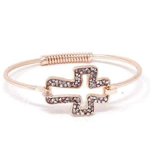 Cross pave bracelet - rose gold & clear