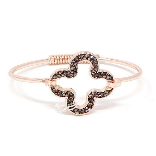 Pave clover bracelet - rose gold black diamond