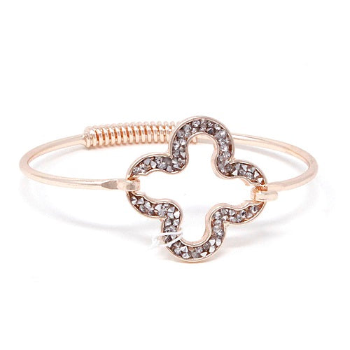 Pave clover bracelet - rose gold clear