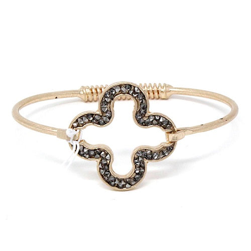 Pave clover bracelet - worn gold black diamond