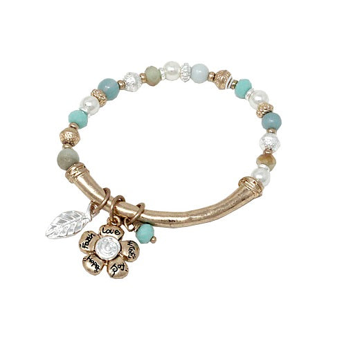 Flower w/ bead bracelet - gold