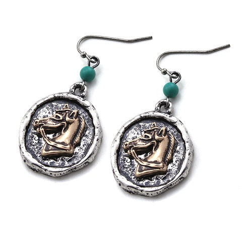 Western Horse earring - two tone