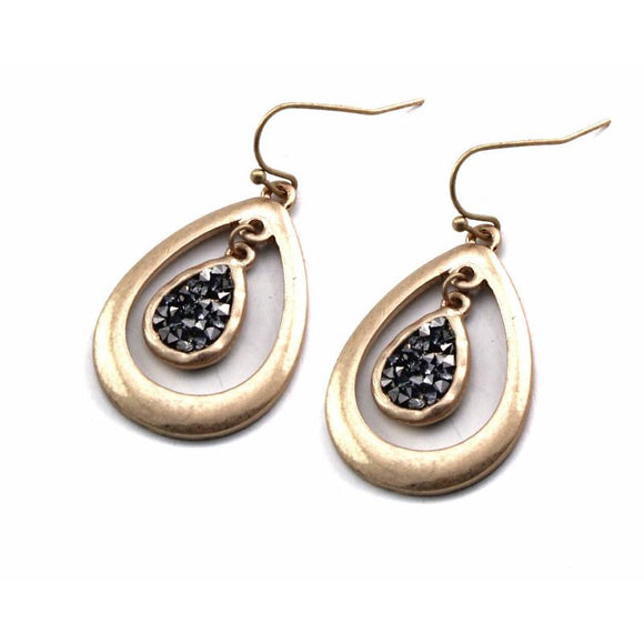 Tear drop w/ pave earring - gold