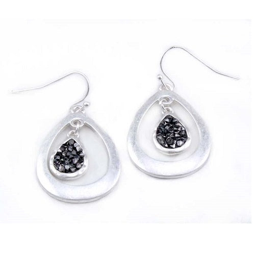Tear drop w/ pave earring - silver