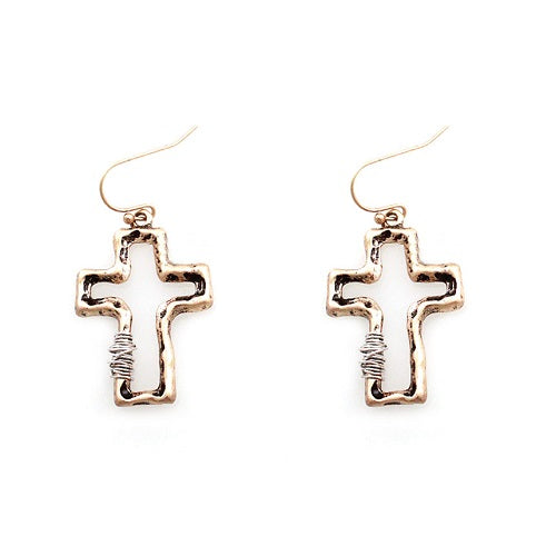 Cross w/ wired earring - gold