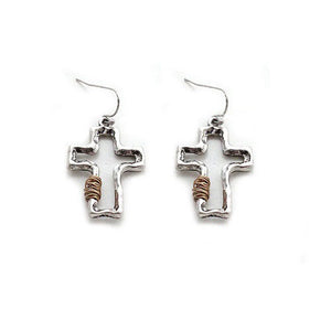 Cross w/ wired earring - silver