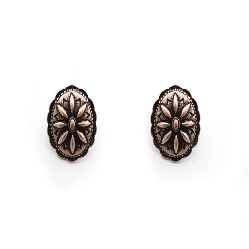 CONCHO OVAL GOLD EARRING - Pink Vanilla